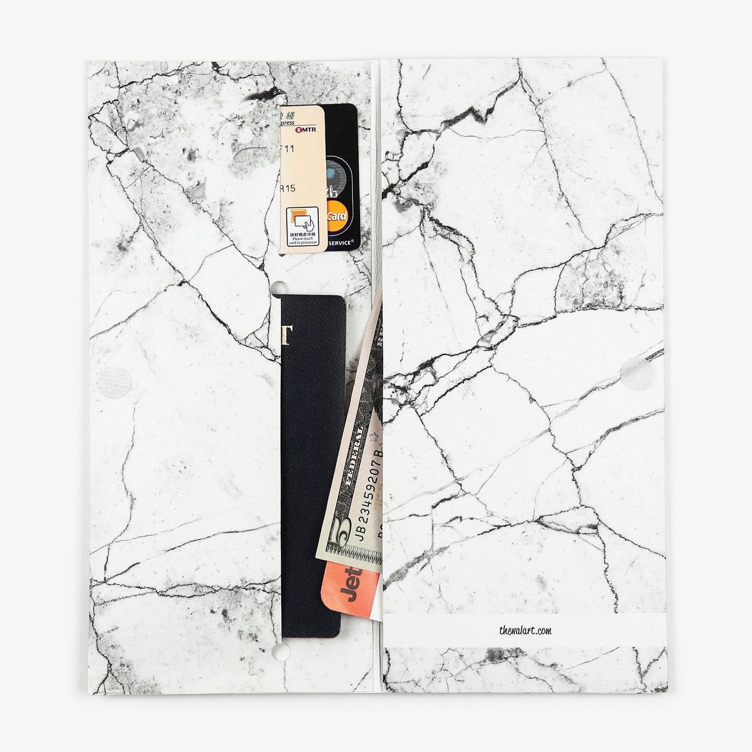 White Marble Travel Wallet - The Walart - Paper Wallet
