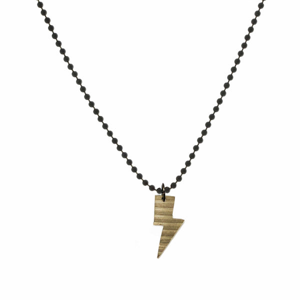 DRUM CYMBAL BALL & CHAIN NECKLACE - LIGHTNING BOLT