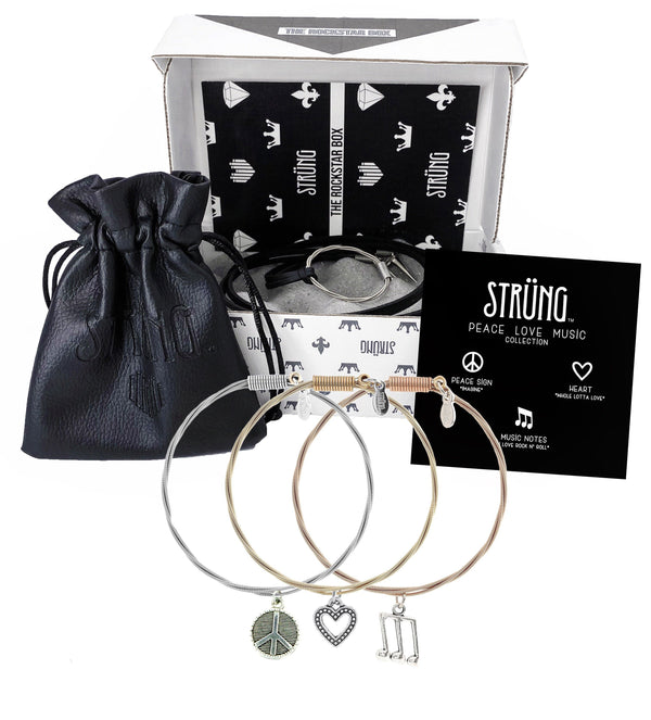 WOMEN'S ROCKSTAR BUNDLE PEACE, LOVE, MUSIC COLLECTION & NECKLACE