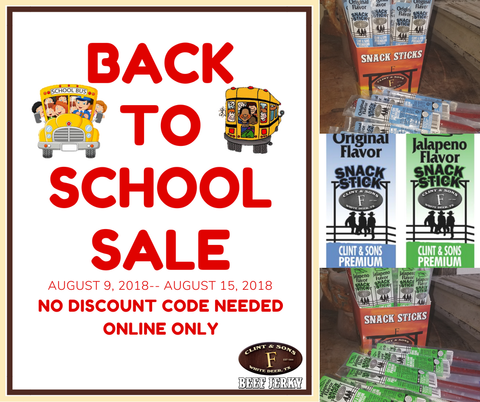 Back to School Sale 8-9-18--8-15-18