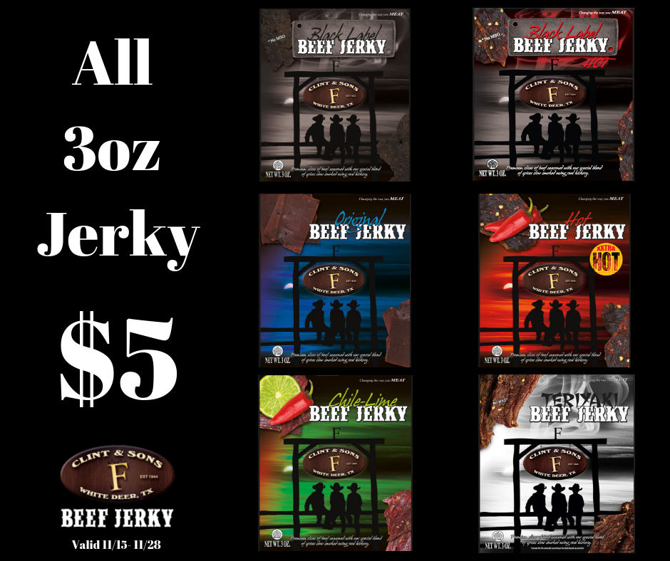 All 3oz Jerky only $5 per bag CyberMonday Sale