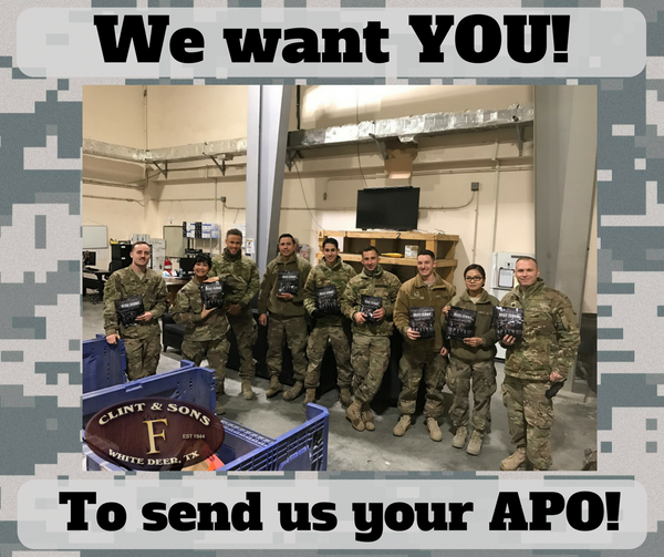 APO addresses needed for donation of troop jerky for soldiers.
