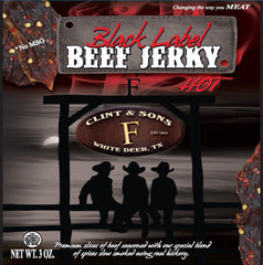 Beef Jerky - 4-3oz Hot Black Label Beef Jerky