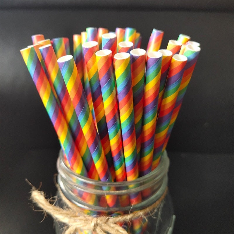 Eco-Friendly Rainbow Paper Straw 25pcs