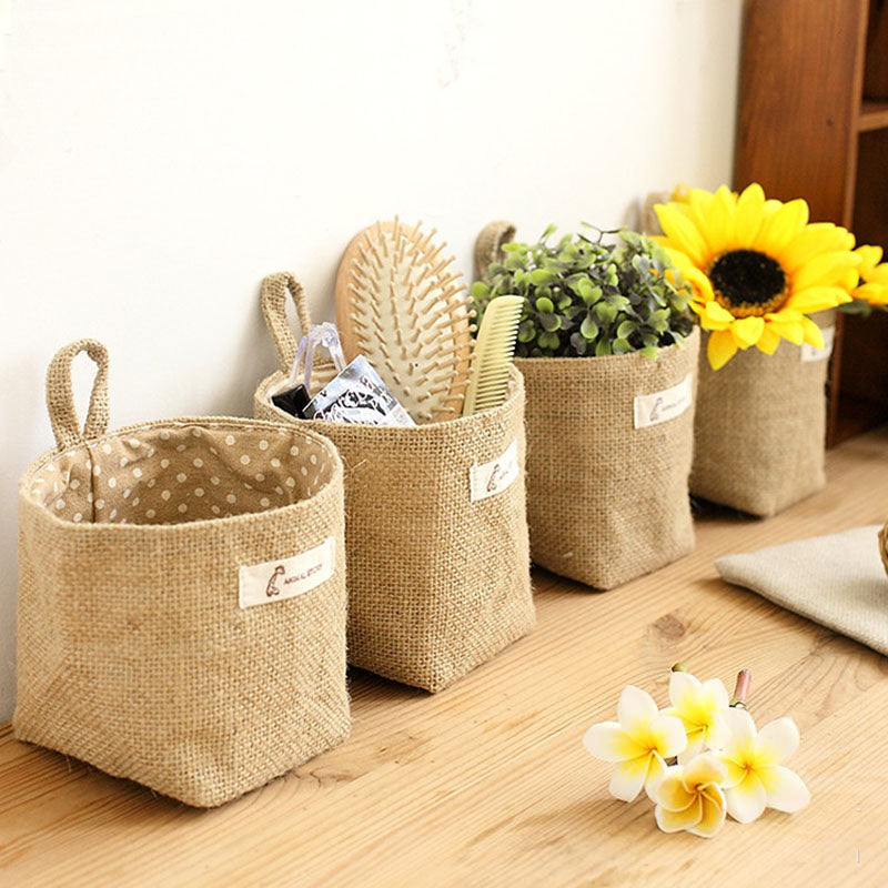 Jute Cotton Linen Sundries basket 1pcs