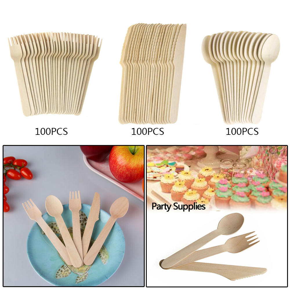 100pcs/pack Disposable Wooden Forks|Spoons|Knives Set | Alternative to Plastic Cutlery - Biodegradable Replacements
