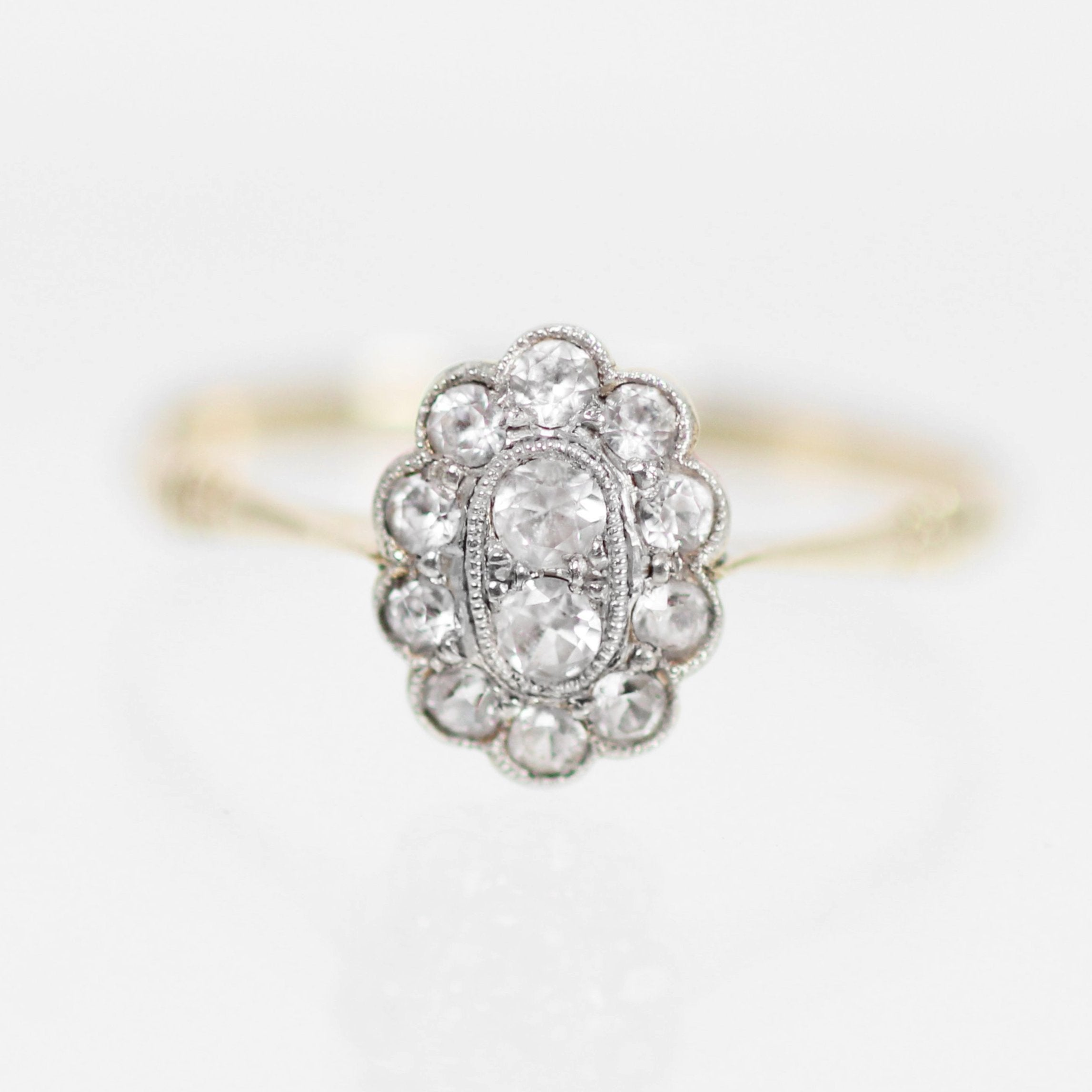 Antique 9k Yellow Gold + Platinum White Sapphire Ring