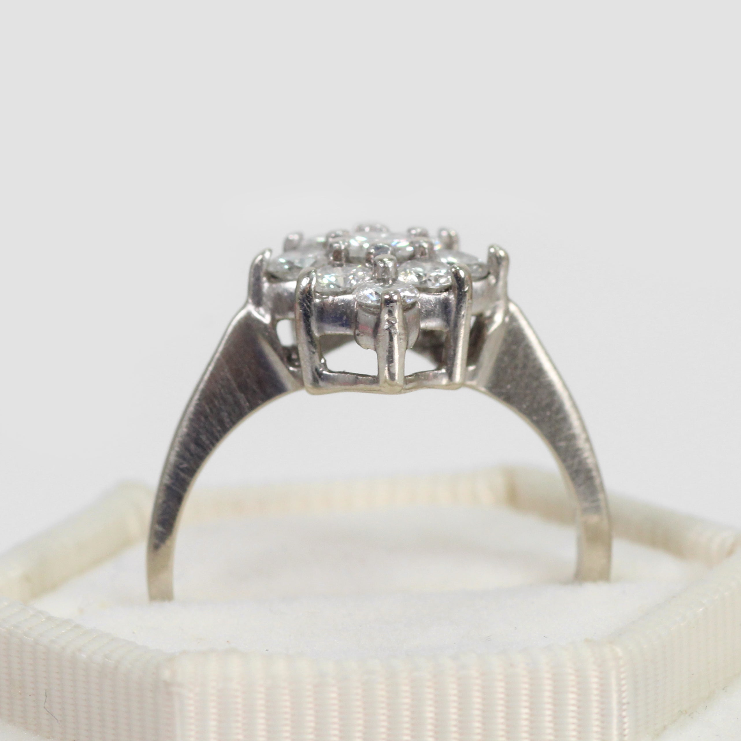 Lorinda - Antique .72ct Diamond Cluster 14k White Gold Ring