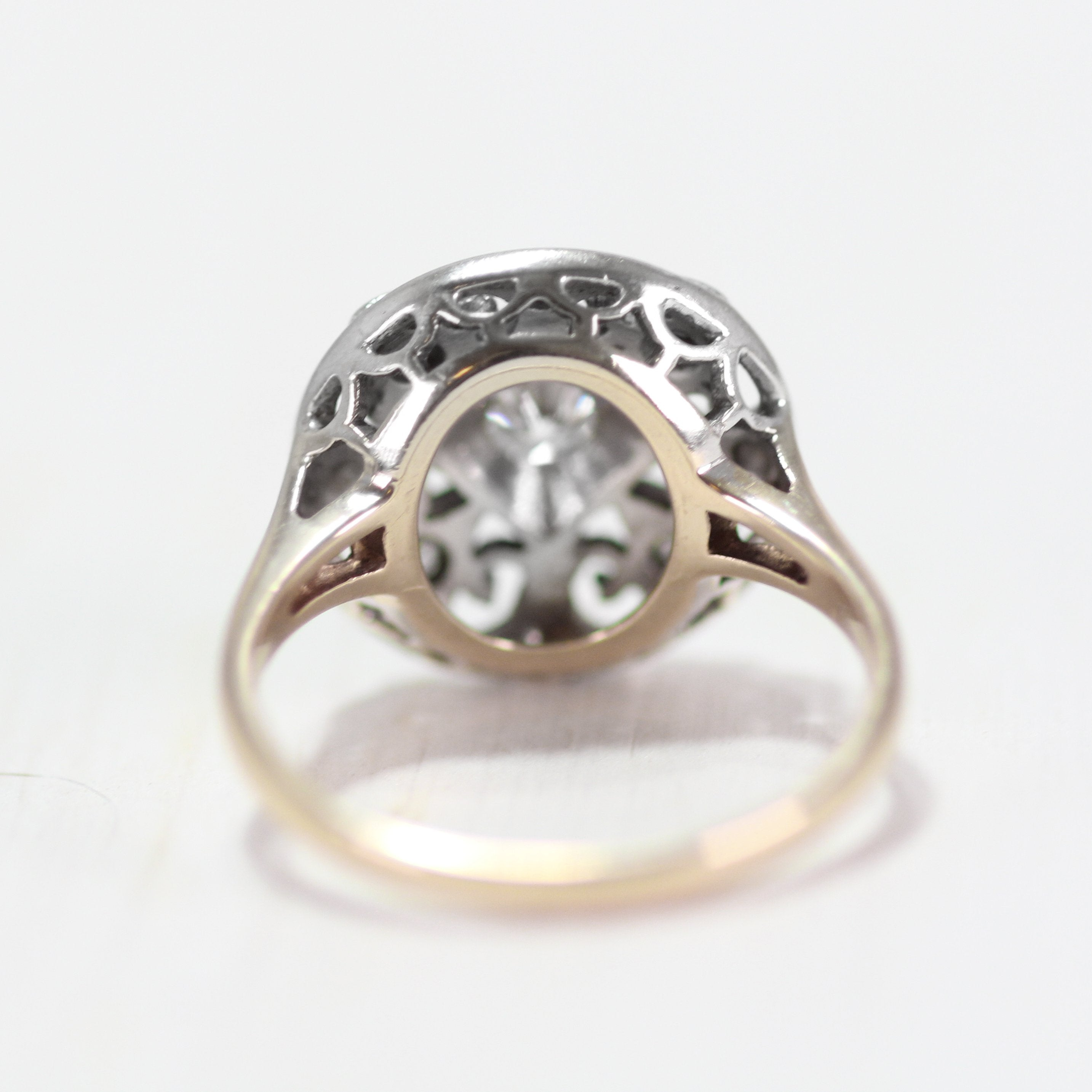 Joan - Antique Diamond Mixed Metal Ring - Filigree