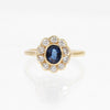 Carole - Sapphire & Diamond Halo 18k Yellow Gold Ring