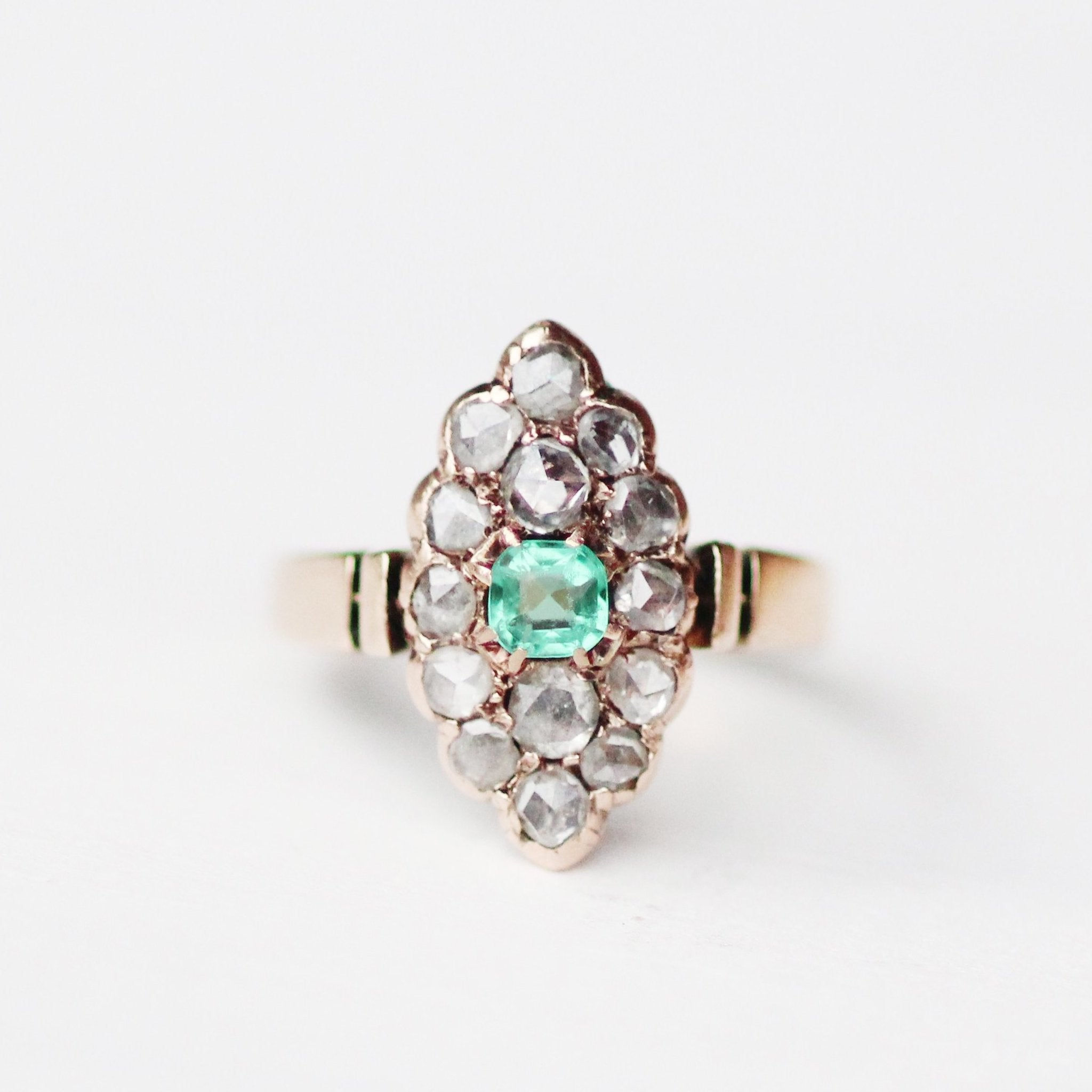 Ed - Antique Rose Gold Rose Cut Diamond and Emerald Navette Edwardian Ring