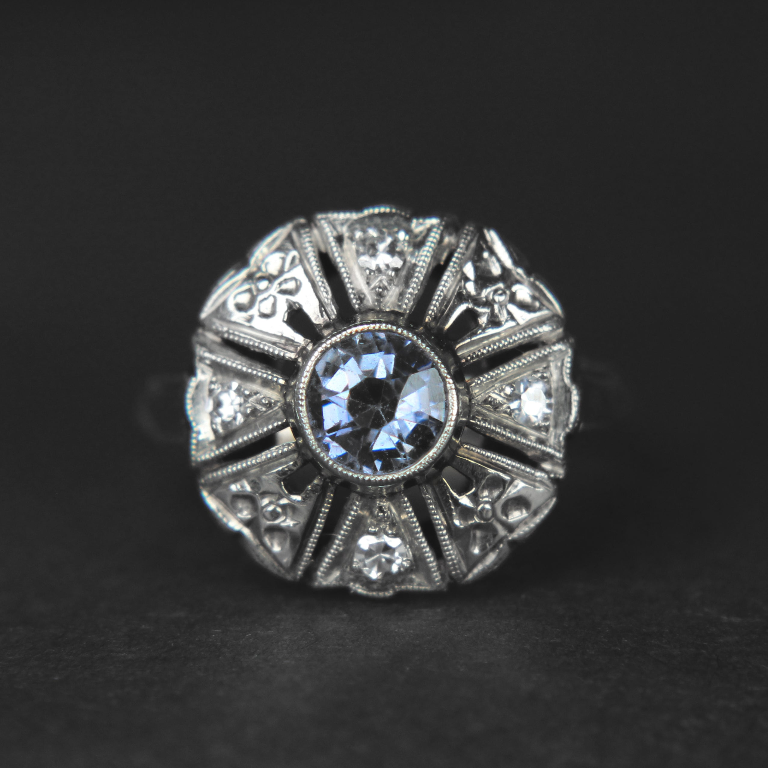 Sandre - Sapphire & Diamond mixed 14k gold antique ring
