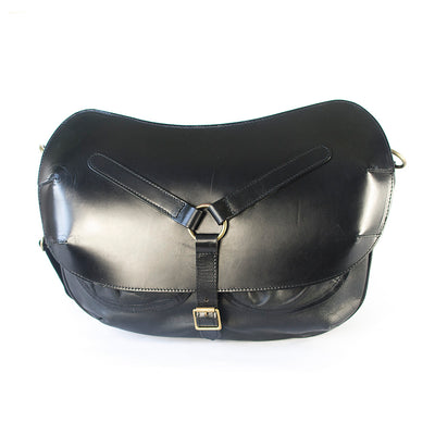 LEATHER SADDLEBAG black