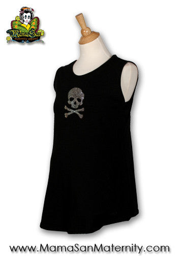 Bad Ass Mama Rhinestone Skull Maternity Sleeveless Top