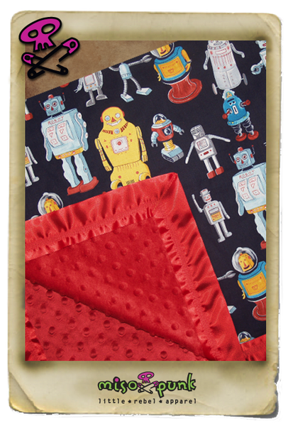 Retro Space Robot Minky Dot Blanket