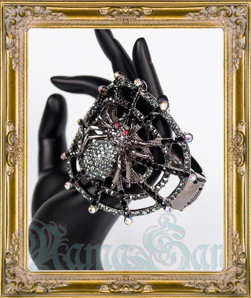 Gunmetal Rhinestone Spider Bangle Cuff Bracelet