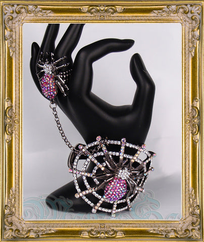Gunmetal Rhinestone Spider Web Ring & Bangle Cuff Bracelet Set