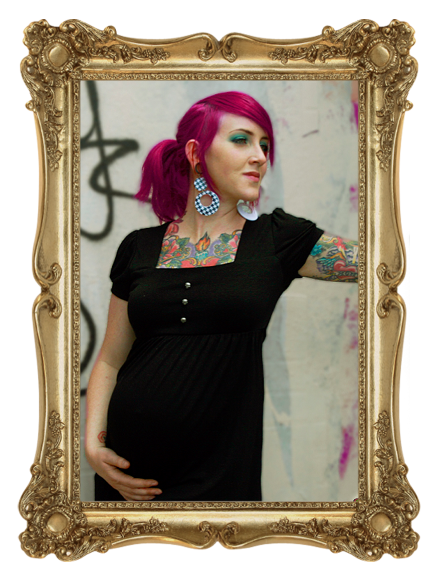 Combination Maternity Package*  Antique Skulls Dress | PP Pink and Black Top | Black Leggings