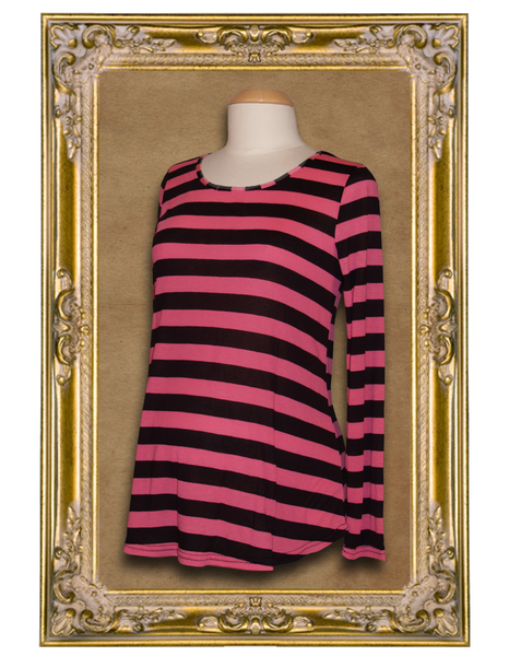 Combination Maternity Package* Pirate Punx Black and Pink Striped Long Sleeve Top | Black Leggings