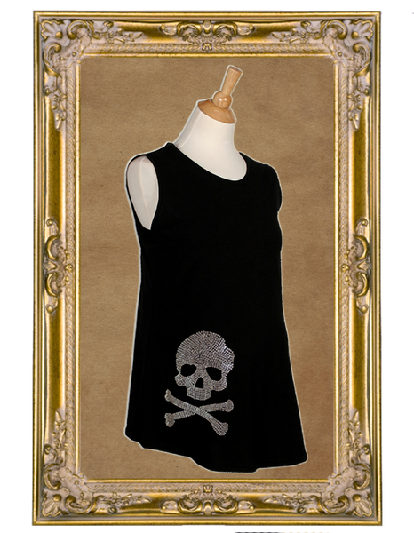 Rock and Roll Glam Rhinestone Skull Maternity Sleeveless Top