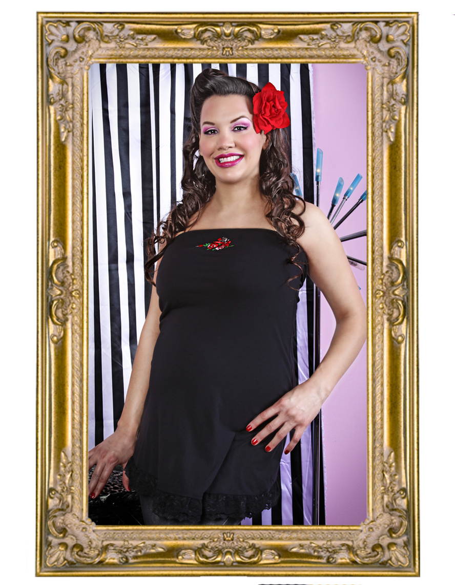 Combination Maternity Package*  Skull and Roses Strapless Top and Black Tights
