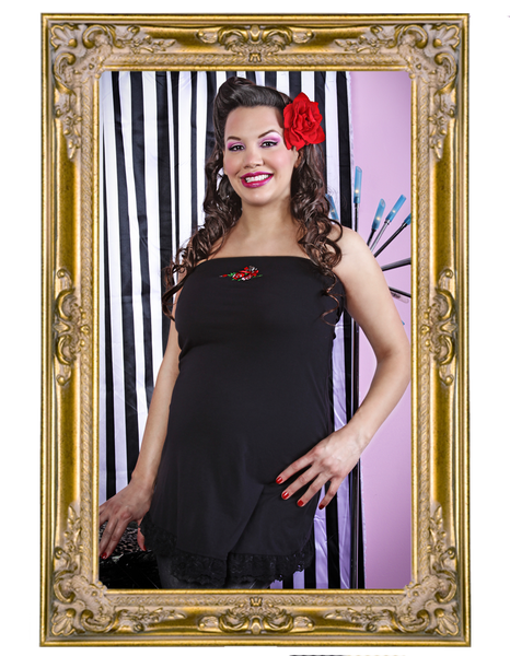 Skull and Roses Strapless / Halter Maternity Top