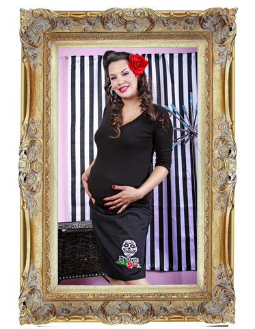 Skulls and Roses A-Line Maternity Skirt