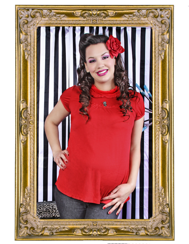 Skully Ruffle Red Short Sleeve Maternity Top