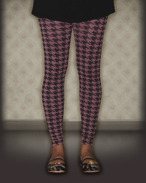 Leggings 2-Pack Black/ Pink Hounds Tooth