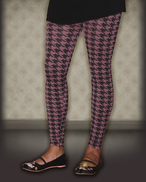 Pink Hounds Tooth Leggings