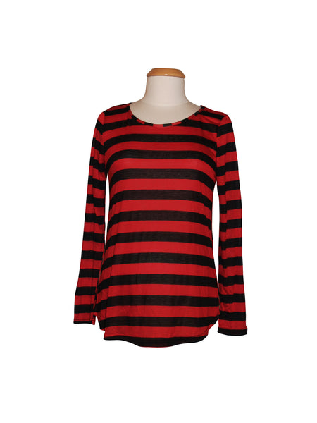 Pirate Punx Black and Red Striped Long Sleeve Top