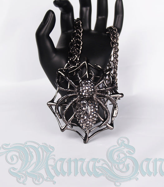 Gunmetal Spider Necklace and Earring Set
