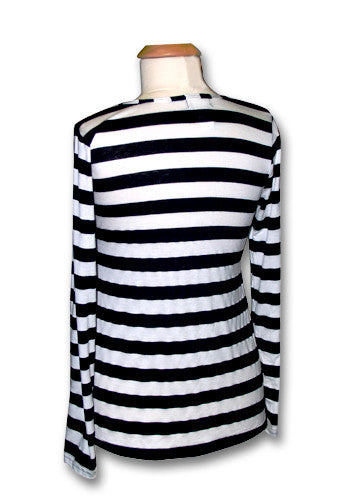 Pirate Punx Black and White Striped Long Sleeve Top