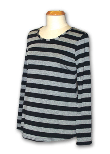 Pirate Punx Grey and Black Striped Long Sleeve Top