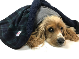 Dog Sherpa Fleece Blanket - Black Watch Plaid