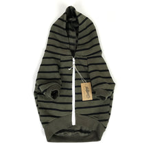 Load image into Gallery viewer, Striped Zip-Up Dog Hoodie- Olive