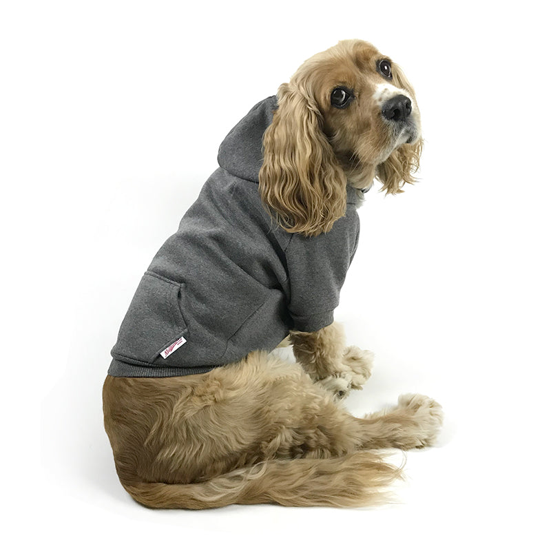Solid Zip-Up Dog Hoodie - Charcoal Grey