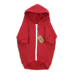 Solid Zip-Up Dog Hoodie- Vintage Red