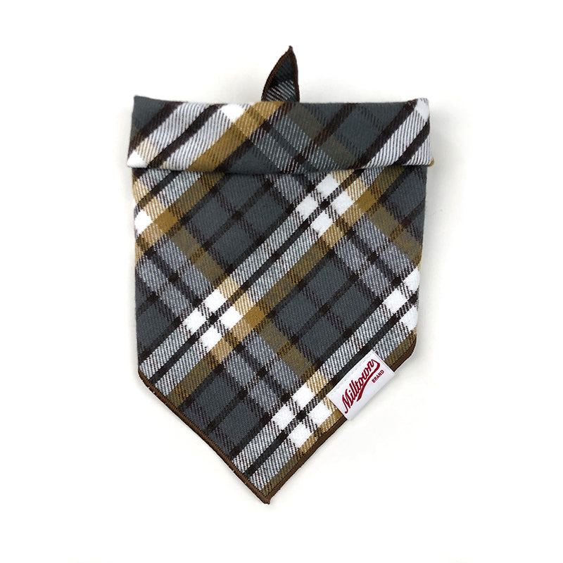 Dog Bandana - Grey Nutmeg Plaid Flannel