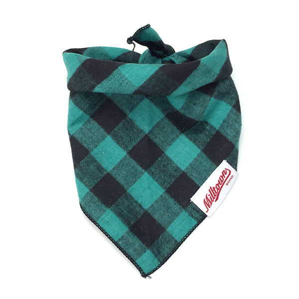 Dog Bandana  - Green Buffalo Plaid