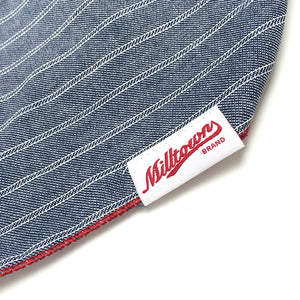 Dog Bandana  - Indigo Herringbone Stripe Chambray