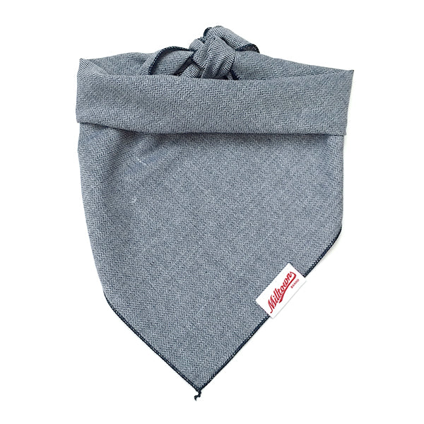 Dog Bandana  - Indigo Herringbone Chambray