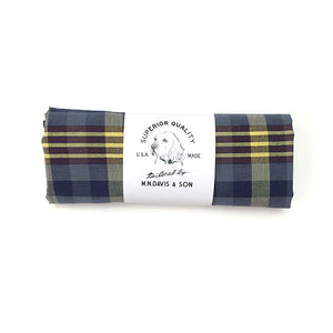 Dog Bandana  - Navy Yellow Brown Plaid