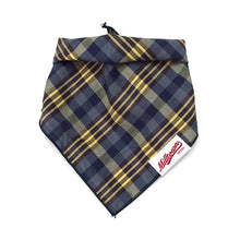 Load image into Gallery viewer, Dog Bandana  - Navy Yellow Brown Plaid