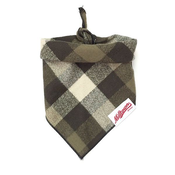 Dog Bandana  - Olive Bicolored Check Flannel