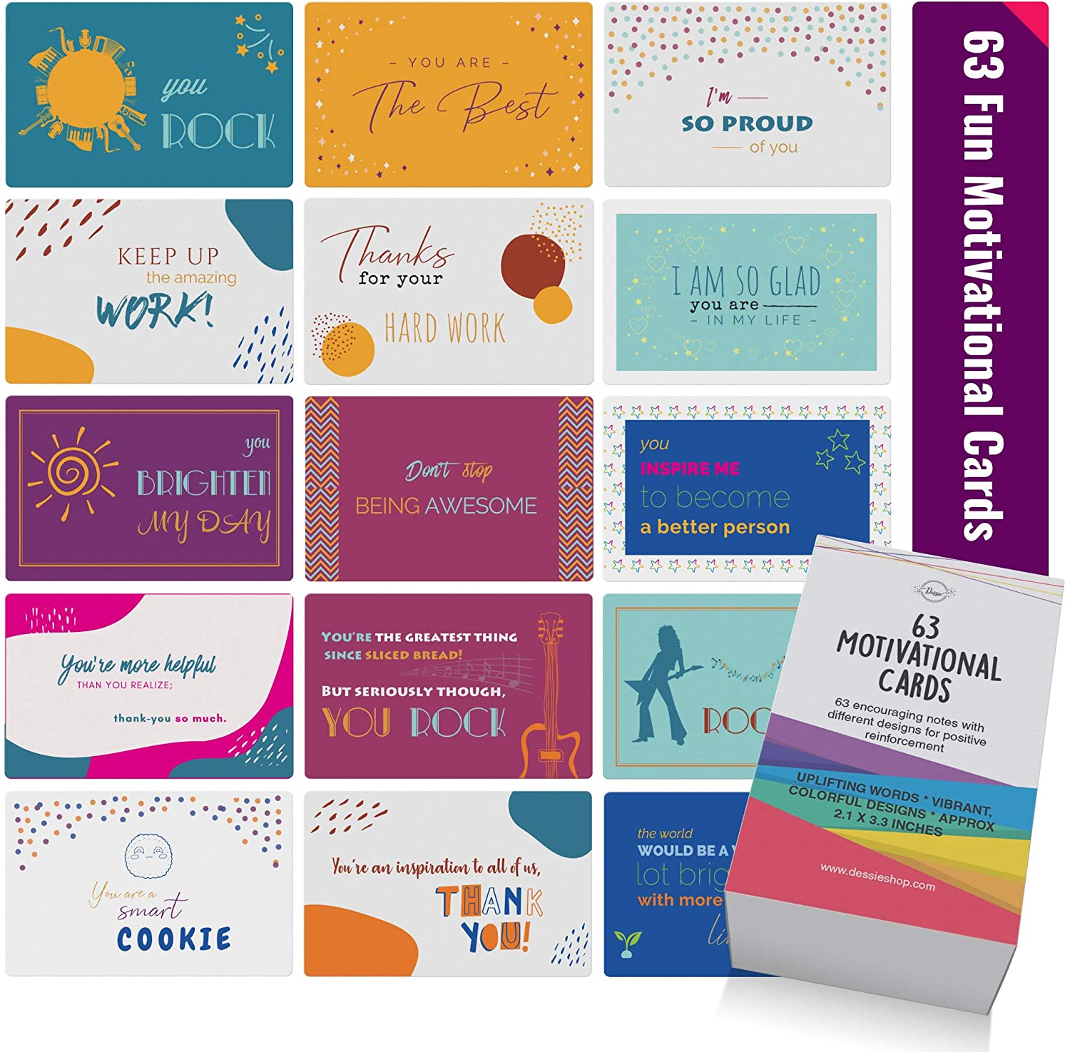 Dessie Motivational Cards - 63 Fun Motivational Quote Cards With Inspirational Quotes