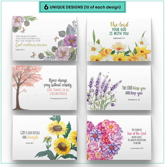 Dessie 60 Inspirational Christian Greeting Cards with 6 Unique Bible Verses.