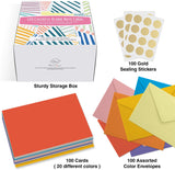 Dessie 100 Solid Color Blank Cards with Envelopes All Occasion