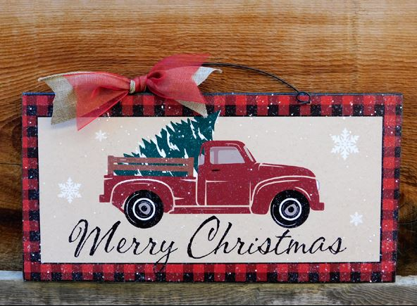 Christmas Red Truck.Merry Christmas Red Truck Sign