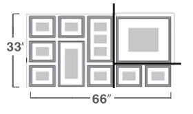 dimensions of 10 frames one set on the wall using the standard preview template cut to create a template for all landscape format photos